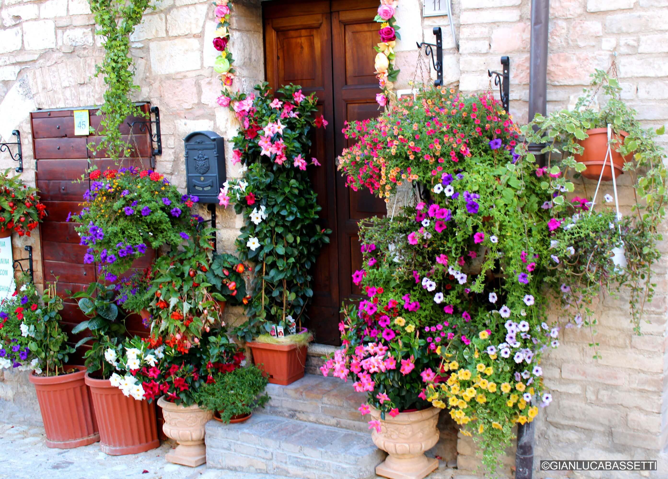 drzwi ozdobione kwiatami